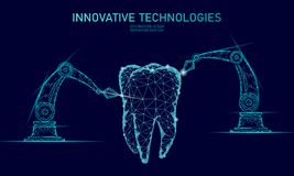 concetto poligonale del braccio del robot dell'innovazione del dente 3d Assistenza medica dentaria orale del poli estratto basso  royalty illustrazione gratis