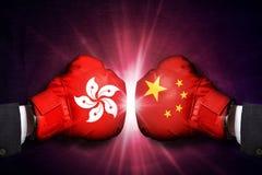 Concetto politico e commerciale di conflitto fra Hong Kong e la Cina fotografia stock