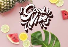 Concetto positivo di ispirazione di motivazione di buone vibrazioni Immagine Stock