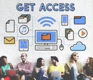 Concetto possibile aperto libero di disponibilità accessibile di Access Immagini Stock