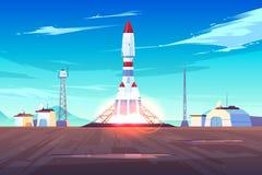 Concetto pranzante di vettore del fumetto del veicolo spaziale moderno illustrazione vettoriale