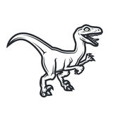 Concetto preistorico di logo di Dino Progettazione delle insegne del rapace Illustrazione giurassica del dinosauro Concetto della Fotografia Stock Libera da Diritti