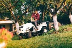 Concetto preoccupantesi del lawncare - erba bella della guarnizione del giovane in giardino facendo uso del trattore Fotografie Stock Libere da Diritti
