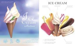 Concetto realistico del gelato fotografie stock libere da diritti