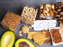 Concetto ricco atioxidant e dello zinco della vitamina, dell'alimento dell'alimento salutare fotografia stock libera da diritti