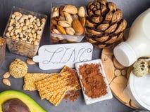 Concetto ricco atioxidant e dello zinco della vitamina, dell'alimento dell'alimento salutare fotografie stock