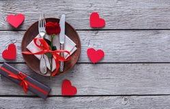 Concetto romantico della cena Fondo di proposta o di giorno di S. Valentino Fotografia Stock