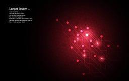 Concetto rosso dell'innovazione di tecnologia di progettazione del modello di esagono del circuito del fondo astratto royalty illustrazione gratis