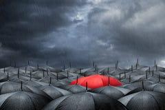 Concetto rosso dell'ombrello Fotografia Stock Libera da Diritti