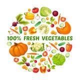 Concetto rotondo dell'alimento fresco dell'azienda agricola illustrazione vettoriale