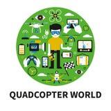 Concetto rotondo di vettore con i quadcopters ed i vari oggetti Fotografie Stock Libere da Diritti