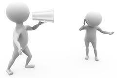concetto rumoroso dell'altoparlante dell'uomo 3d Immagine Stock