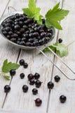 Concetto sano dell'alimento, di agricoltura, del raccolto e della frutta: ribes nero maturo fresco su un vecchio fondo di legno fotografia stock