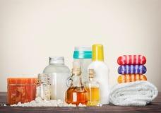 Concetto sano della stazione termale con le barre fatte a mano del sapone Fotografie Stock Libere da Diritti