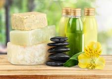 Concetto sano della stazione termale con le barre fatte a mano del sapone Fotografie Stock