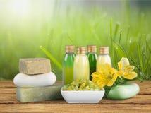 Concetto sano della stazione termale con le barre fatte a mano del sapone sopra Fotografia Stock
