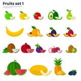 Concetto sano di cibo Frutta e fette su bianco Fotografie Stock Libere da Diritti