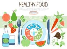 Concetto sano piano dell'alimento illustrazione vettoriale