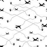Concetto senza cuciture di viaggio del modello L'aeroplano dirige l'estratto per la vostra progettazione Fondo senza cuciture di  Immagine Stock
