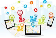 Concetto senza fili di tecnologia del collegamento Immagine Stock Libera da Diritti