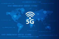 Concetto senza fili globale di comunicazione di Internet 5G Illustrazione di vettore illustrazione di stock