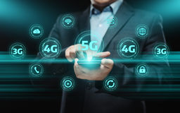 concetto senza fili mobile di affari di Internet della rete 5G fotografie stock libere da diritti