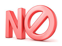 Concetto severo del segno Esprima NO con il simbolo proibito 3d rendono Immagine Stock Libera da Diritti