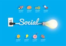 Concetto sociale con l'idea creativa della lampadina Immagine Stock