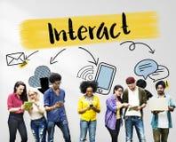 Concetto sociale degli amici di comunicazione del collegamento di media Fotografia Stock