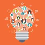 Concetto sociale dei collegamenti di media di infographics moderno piano di web Immagine Stock