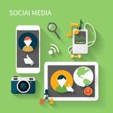 Concetto sociale del collegamento di rete di media Fotografia Stock