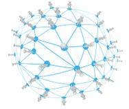Concetto sociale del collegamento di rete, pianeta 3d Immagini Stock