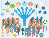 Concetto sociale dell'albero di media Fotografie Stock