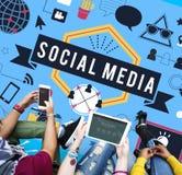 Concetto sociale della comunicazione globale di tecnologia di mezzi d'informazione Fotografia Stock
