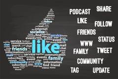 Concetto sociale della nuvola di parola di media Immagine Stock