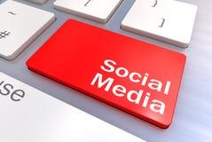 Concetto sociale della tastiera di media Fotografia Stock