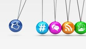 Concetto sociale delle icone di web di media Fotografia Stock