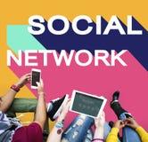 Concetto sociale di chiacchierata del collegamento della Comunità della rete di media Immagine Stock Libera da Diritti
