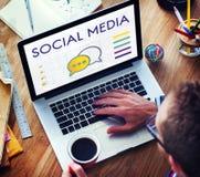 Concetto sociale di comunicazione del fumetto di media Fotografia Stock