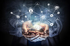 Concetto sociale di interazione 3d rendono Media misti Immagine Stock Libera da Diritti