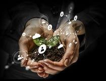 Concetto sociale di interazione 3d rendono Media misti Fotografia Stock Libera da Diritti
