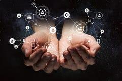 Concetto sociale di interazione 3d rendono Media misti Fotografia Stock