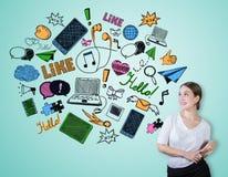 Concetto sociale di media Fotografie Stock