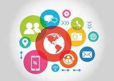 Concetto sociale di media Comunicazione nelle reti di computer globali Fotografia Stock Libera da Diritti