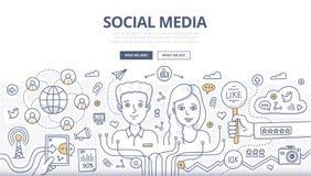 Concetto sociale di scarabocchio di media