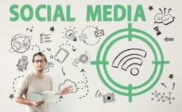 Concetto sociale di segnale WiFi di parola di media Fotografia Stock