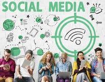 Concetto sociale di segnale WiFi di parola di media Fotografie Stock Libere da Diritti