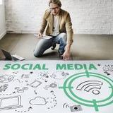 Concetto sociale di segnale WiFi di parola di media Fotografie Stock