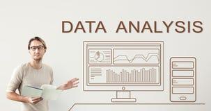 Concetto sommario del computer di progresso di analisi dei dati di dati immagini stock