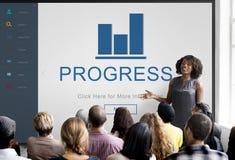 Concetto sommario del grafico di risultato di progresso Immagini Stock